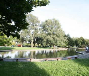 Park z uroczym oczkiem wodnym