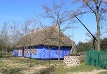 Chata malowana na niebiesko w Muzeum w Łowiczu