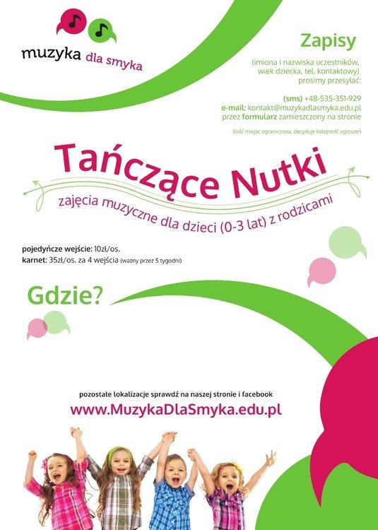Tańczące Nutki – umuzykalniające spotkania dla maluszków do 2,5 r.ż. z  opiekunem