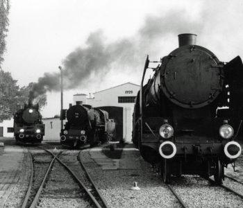 Lokomotywa w skansenie kolejowym w KOścierzynie w 1993 roku
