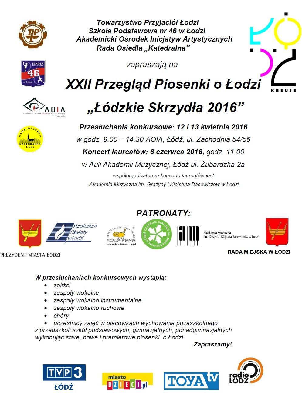 Plakat Festiwalu Łódzkie Skrzydła 2016