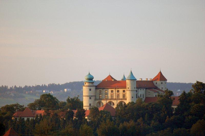 Widok na okolicę i zamek w Wiśniczu