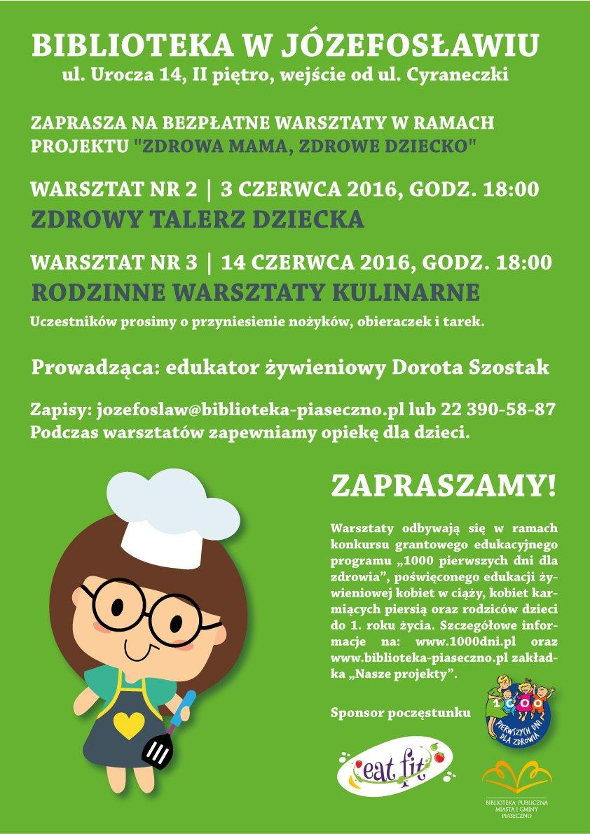 Plakat zdrowa-mama 2 warsztaty dla rodziców o żywieniu dzieci