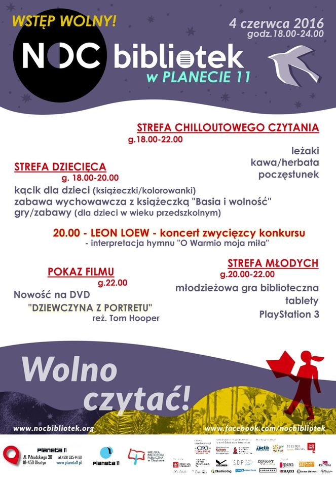Noc Bibliotek 2016 w Planecie 11 w Olsztynie