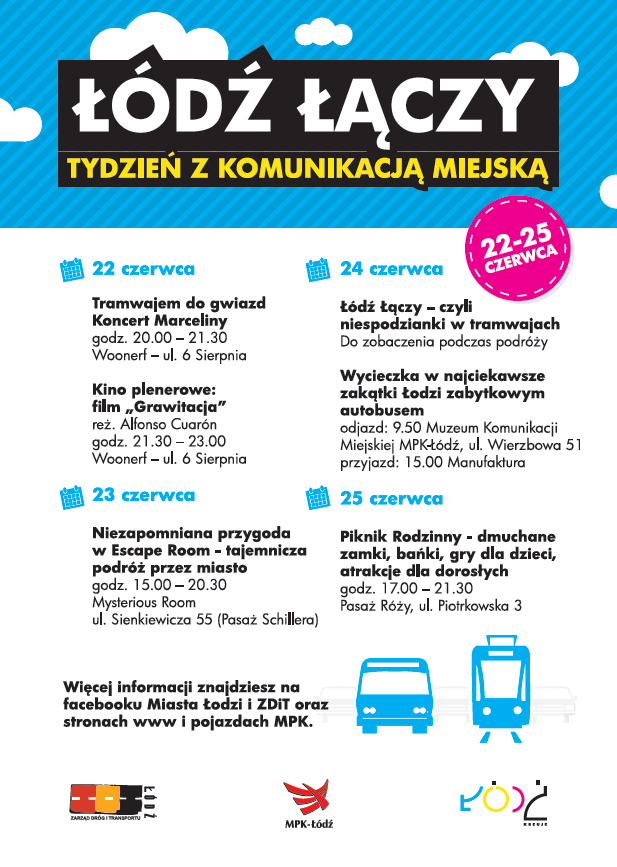 Łódź Łączy - plakat akcji Tydzień z komunikacją miejską w Łodzi