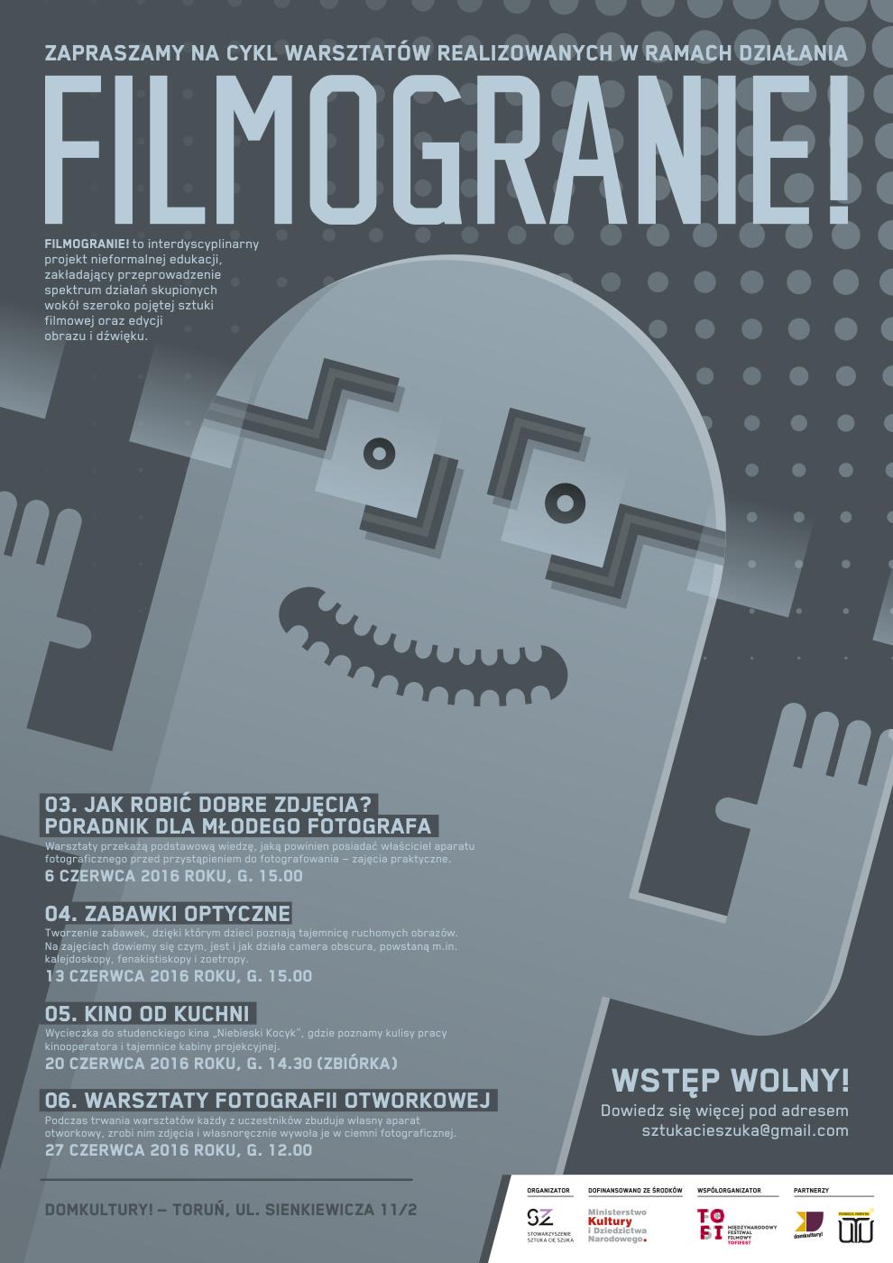 Zapraszamy na cykl czerwcowych warsztatów, realizowanych w ramach Filmogrania! w Toruniu