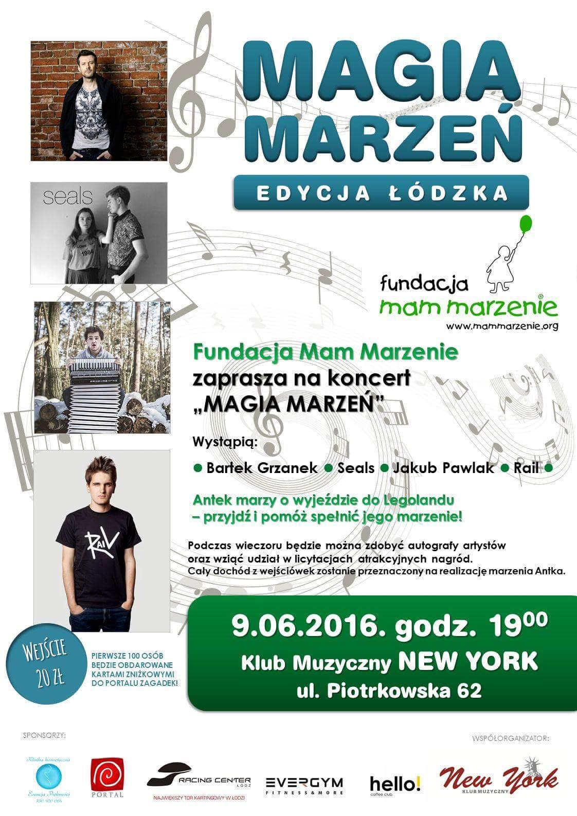 Plakat koncertu charytatywnego Magia Marzeń Fundacji Mam Marzenie