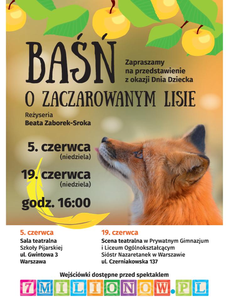 Baśń o lisie DZień DZiecka spektakl w przedszkolu i szkole