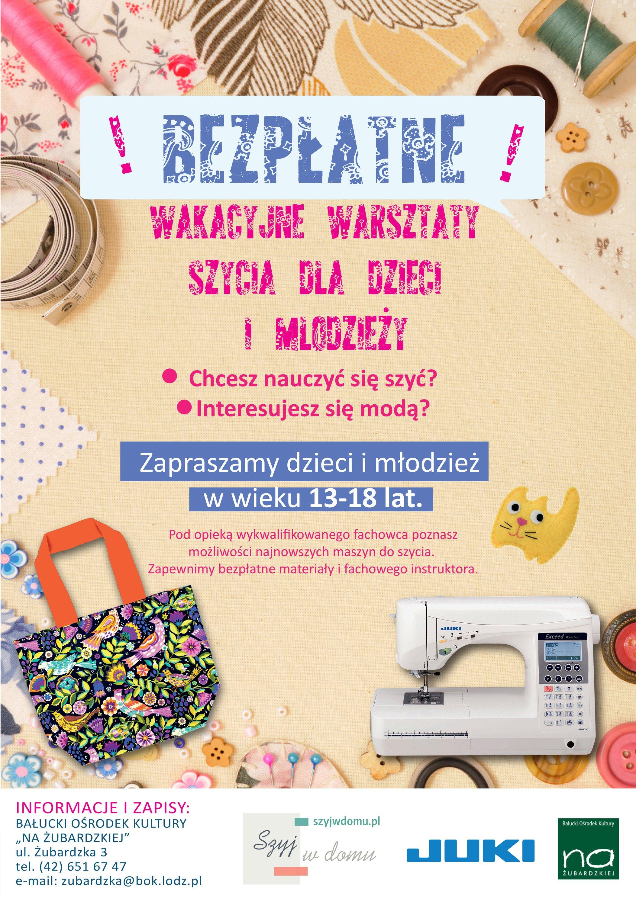 Plakat warsztaty szycia dla dzieci i młodzieży BOK