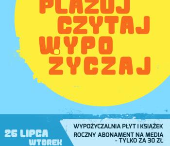Plażuj, Czytaj, Wypożyczaj – Piknik Familijny na Plaży Miejskiej