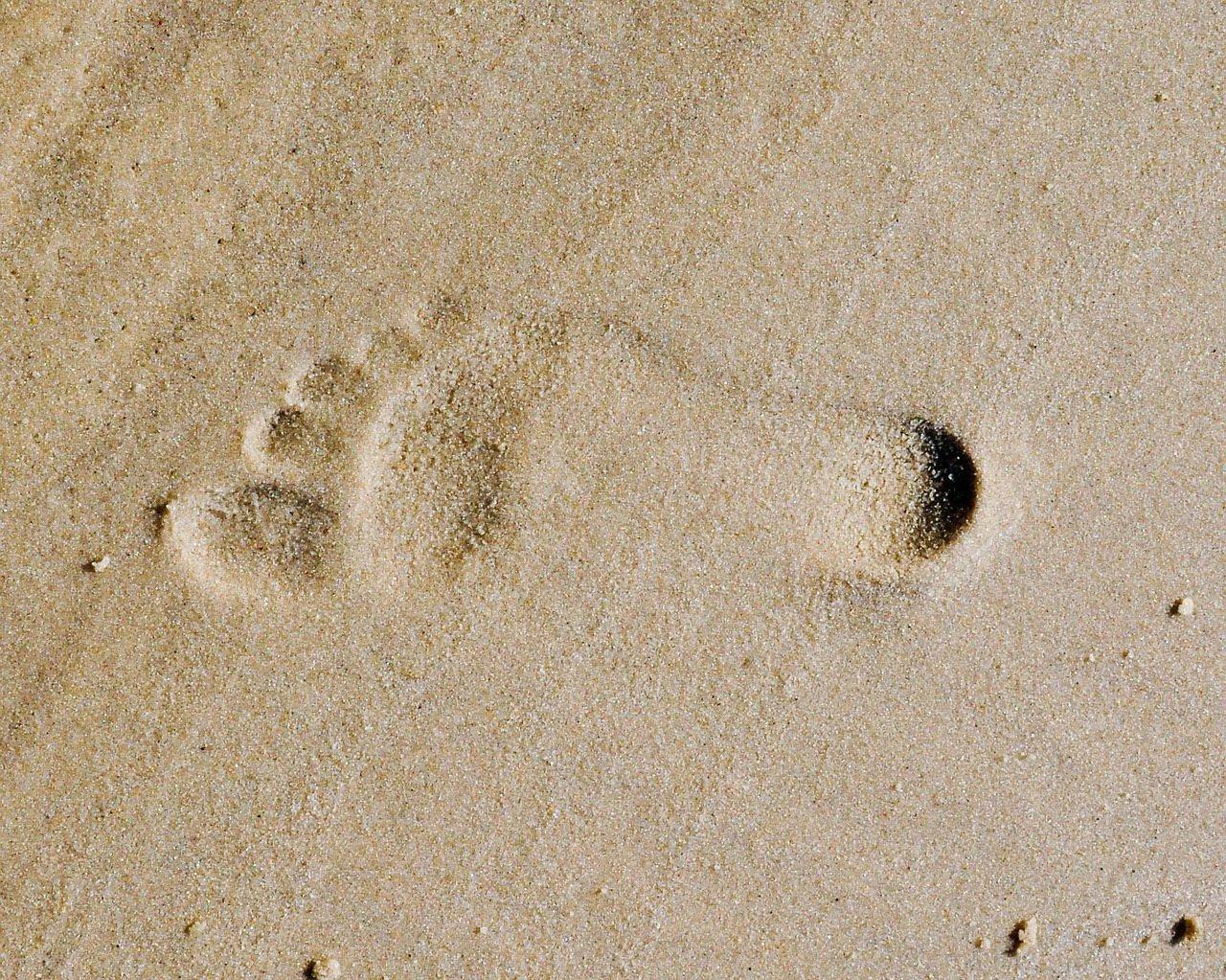 Odcisk stopy na plaży