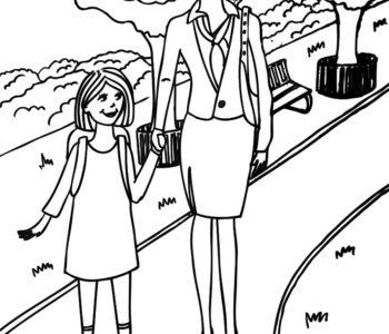 Mama z córką w parku. Kolorowanka dla dzieci