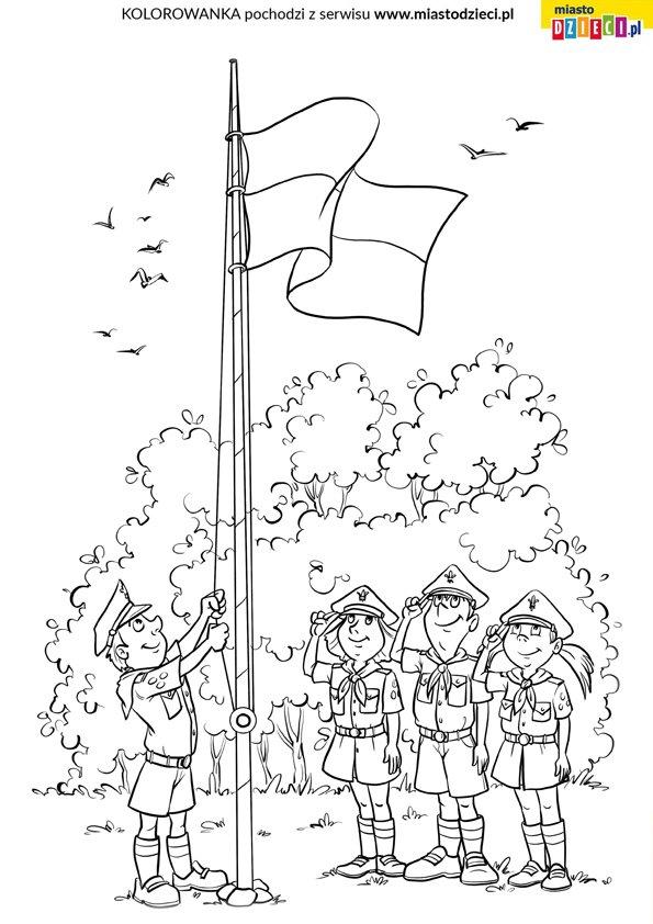 Kolorowanki dla dzieci harcerze