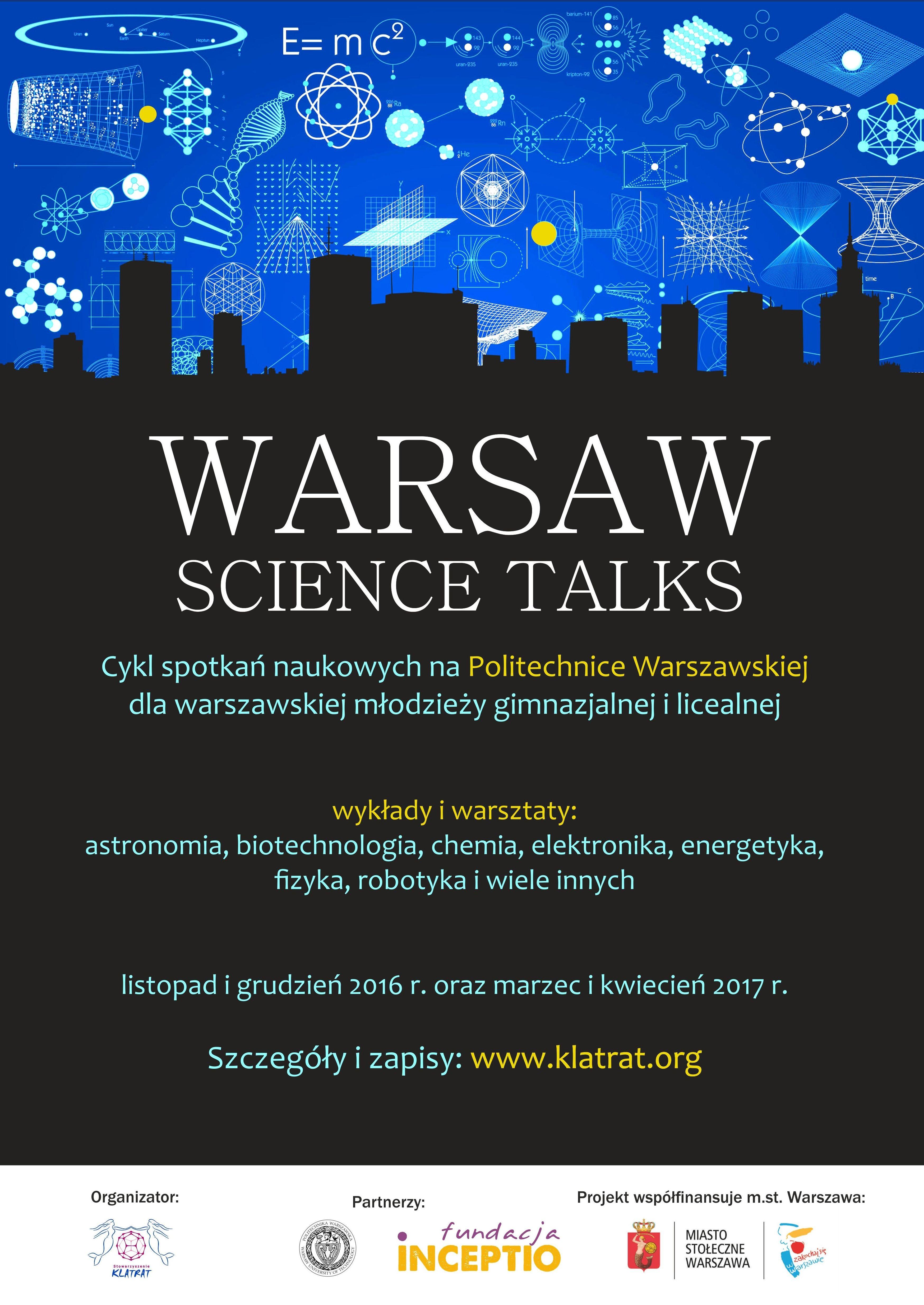 """Trwają zapisy na warsztaty w ramach projektu """"Warsaw Science Talks"""""""