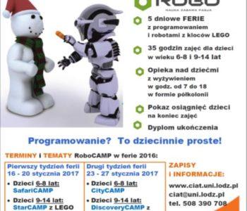 RoboCAMP Ferie 2017 na Uniwersytecie Łódzkim