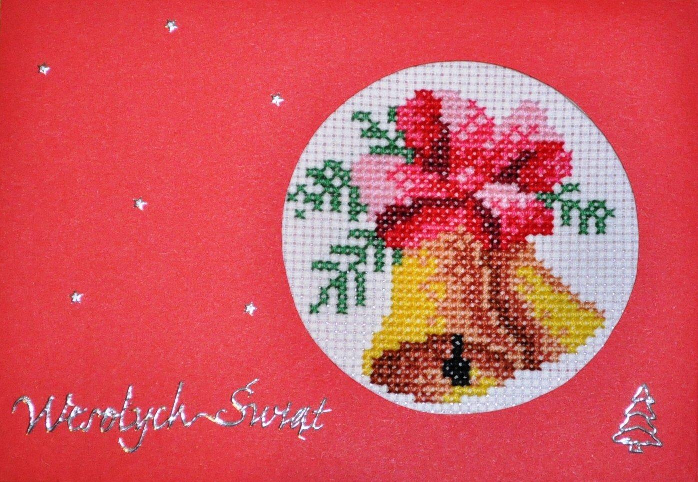 kartka świąteczna haft