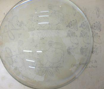 Pokaz druku płaskiego z kamienia wapiennego - Muminki