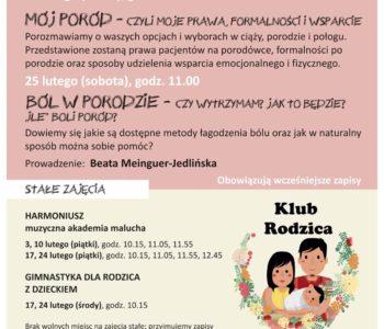 Bezpłatne spotkania w Klubie Rodzica w lutym w CK Ruczaj