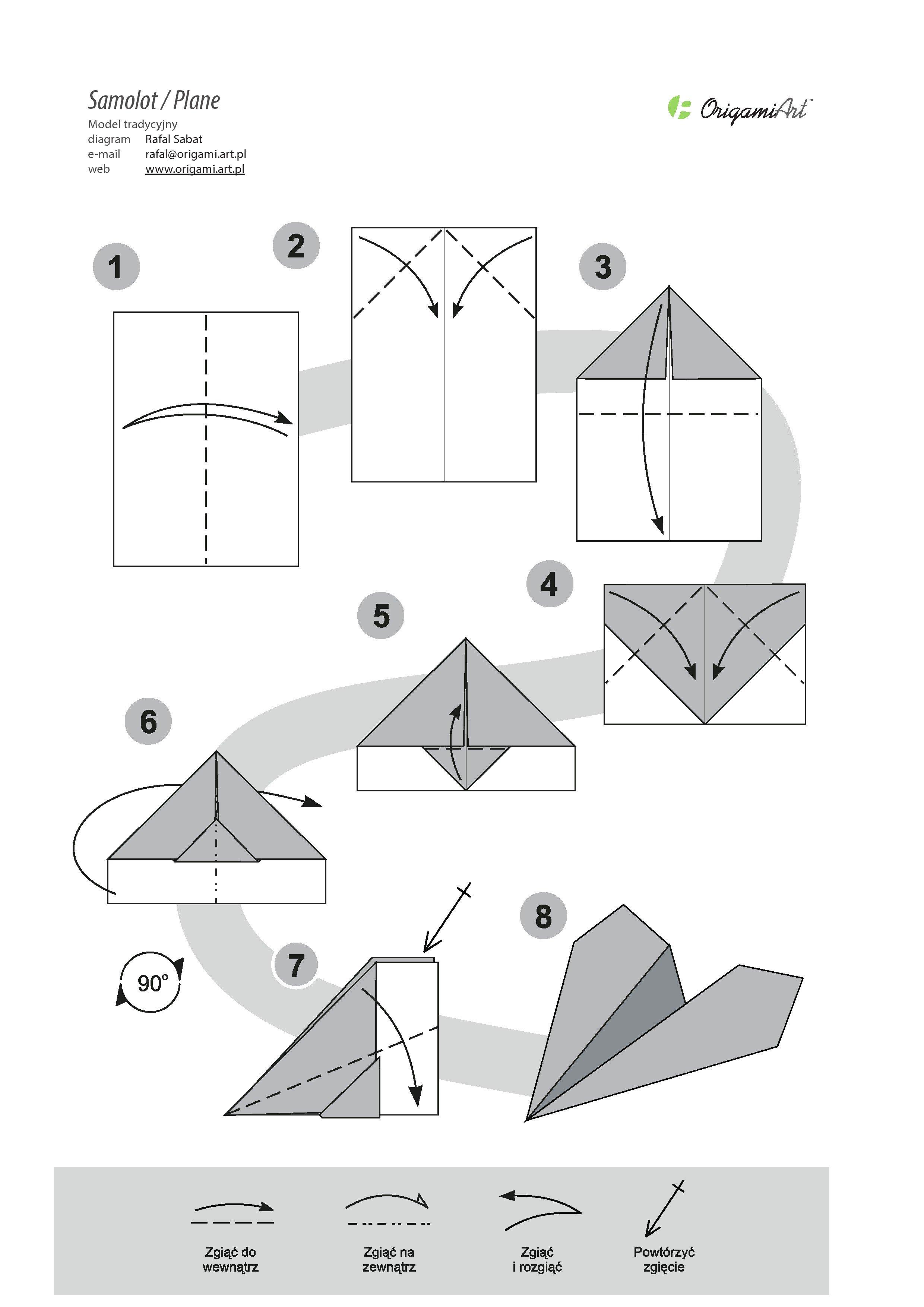 Samolot - tradycyjny model origami