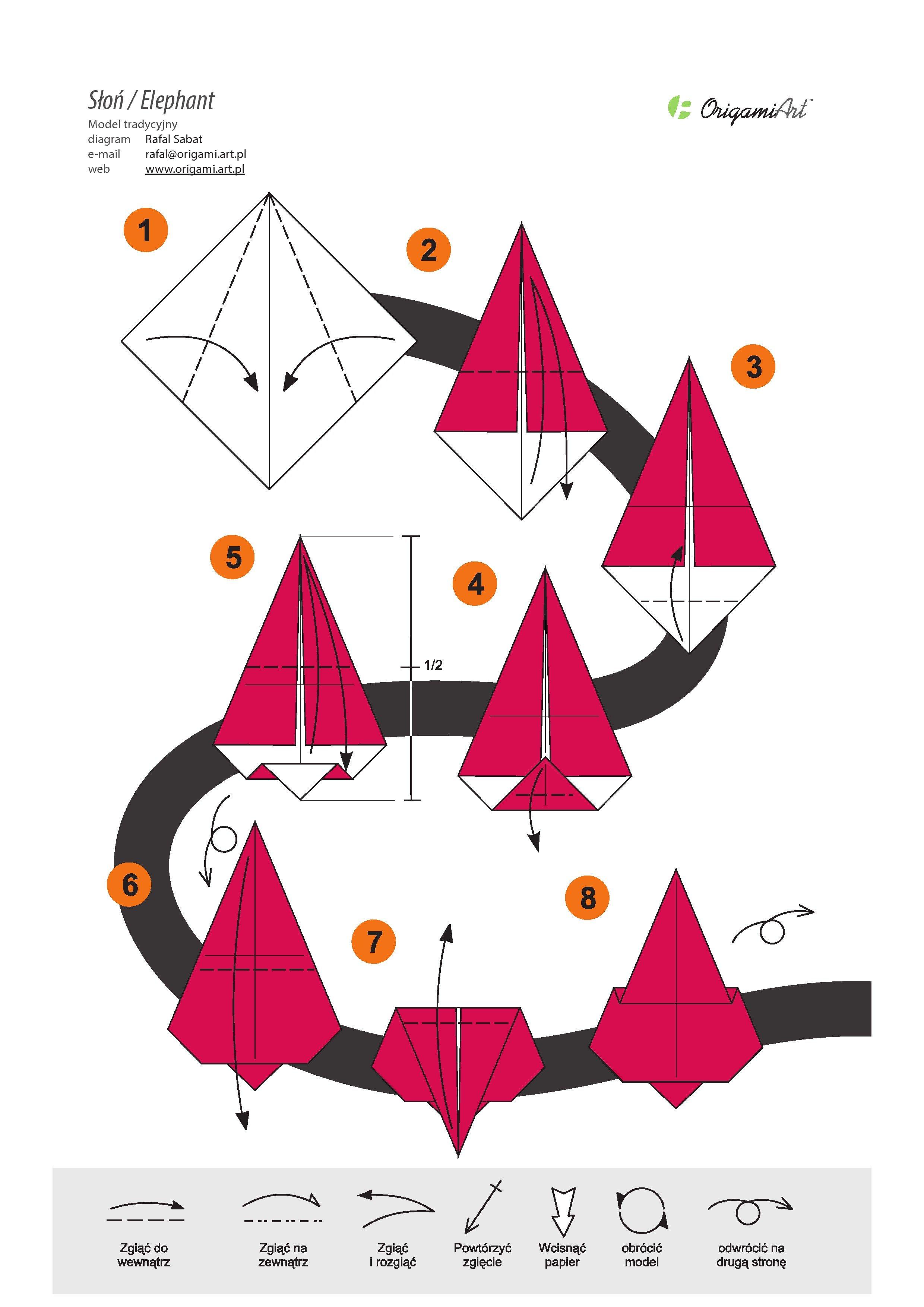 Słoń 1 - tradycyjny model origami