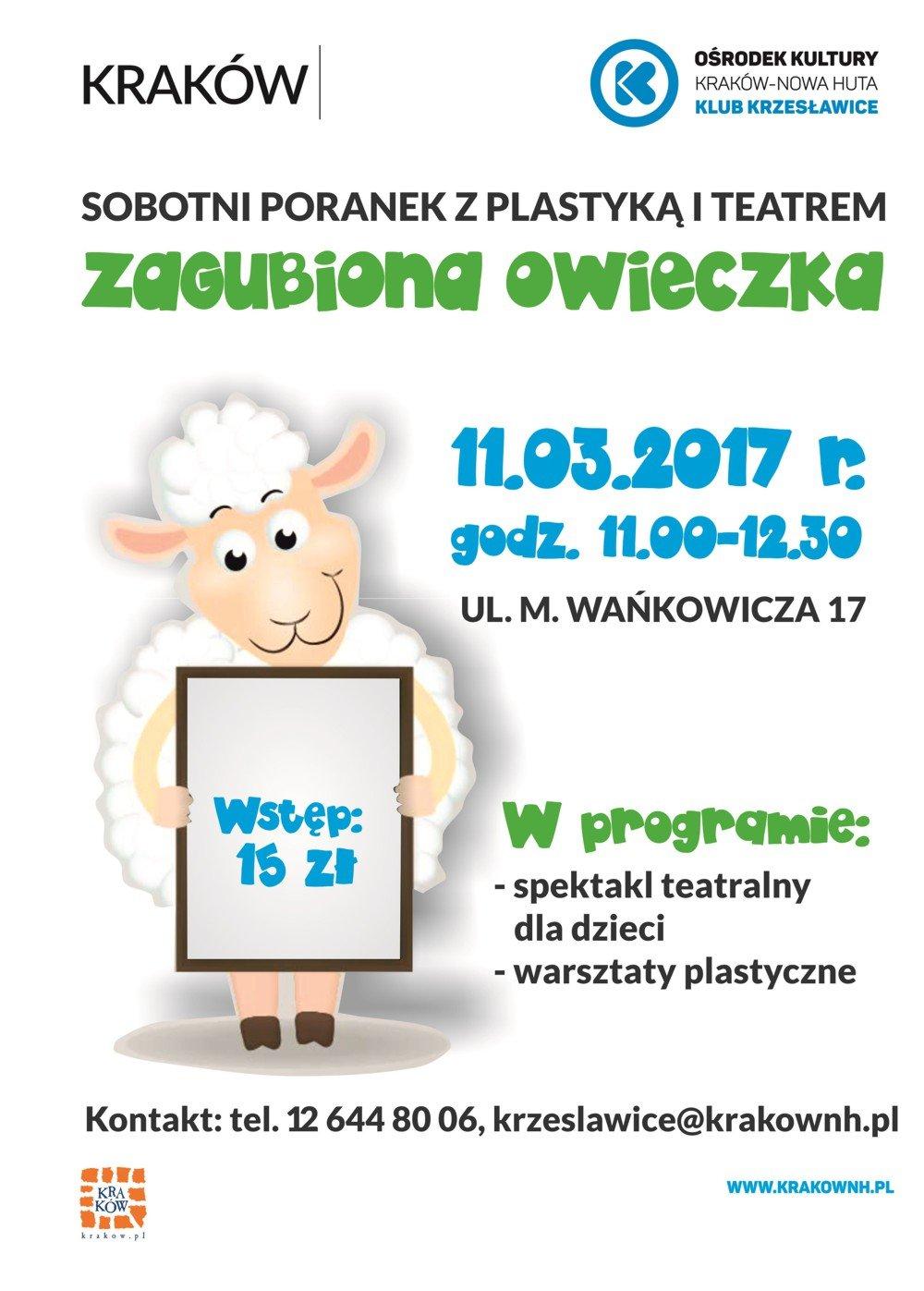 Sobotnie poranki z teatrem i plastyką w Klubie Krzesławice - Zagubiona owieczka