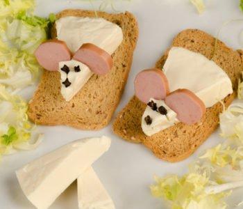 Przepis na kanapki – myszki z serka topionego