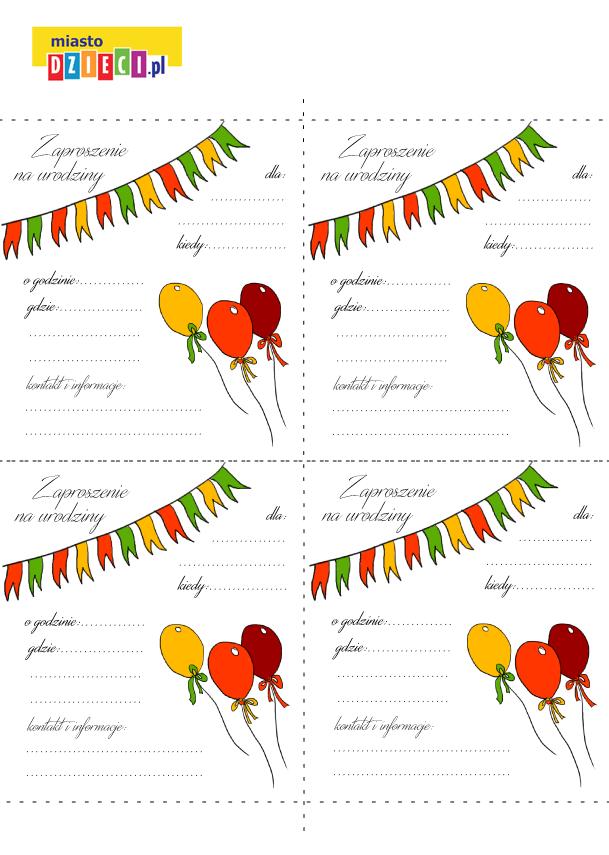 Urodzinowe Zaproszenie Do Druku Wydarzenia Imprezy Dla Dzieci