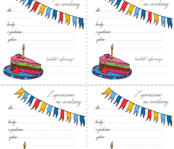 Kolorowe zaproszenia urodzinowe do wydrukowania
