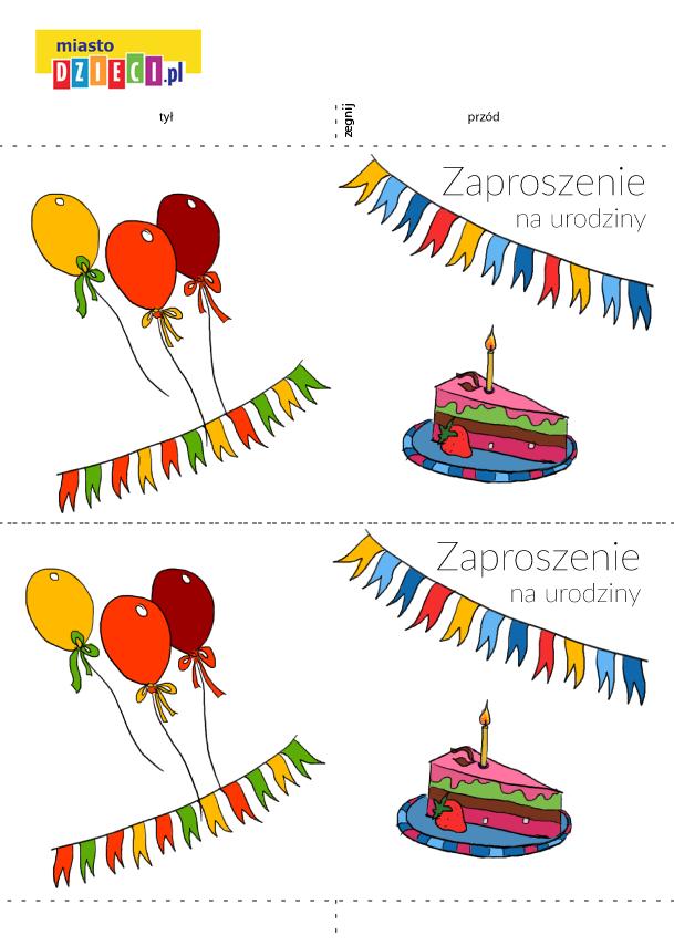 zaproszenie na urodziny dla dzieci szablon