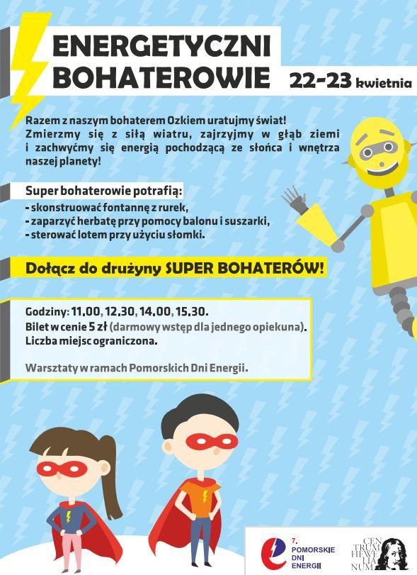 Atrakcje Centrum Hewelianum z okazji Pomorskich Dni Energii _plakat