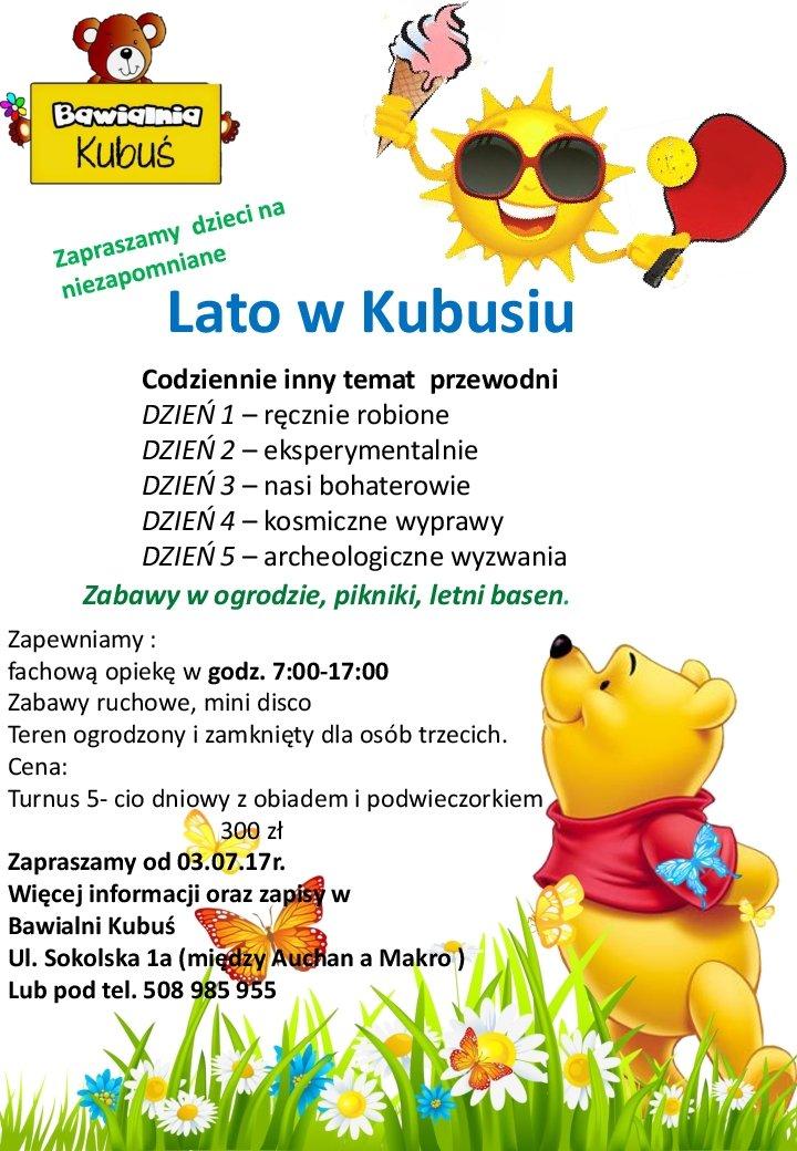 Lato dla dzieci w Bawialni Kubuś w Sosnowcu