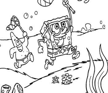 Kolorowanka Kanciastoporty SpongeBob bajkowamalowanka do druku