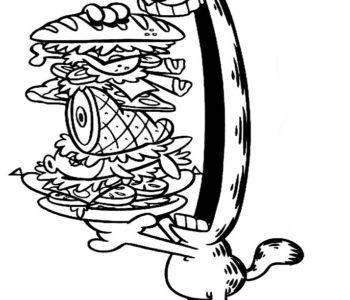 Kolorowanka Garfield i kanapka, kolorowanki z kotem do wydruku za darmo