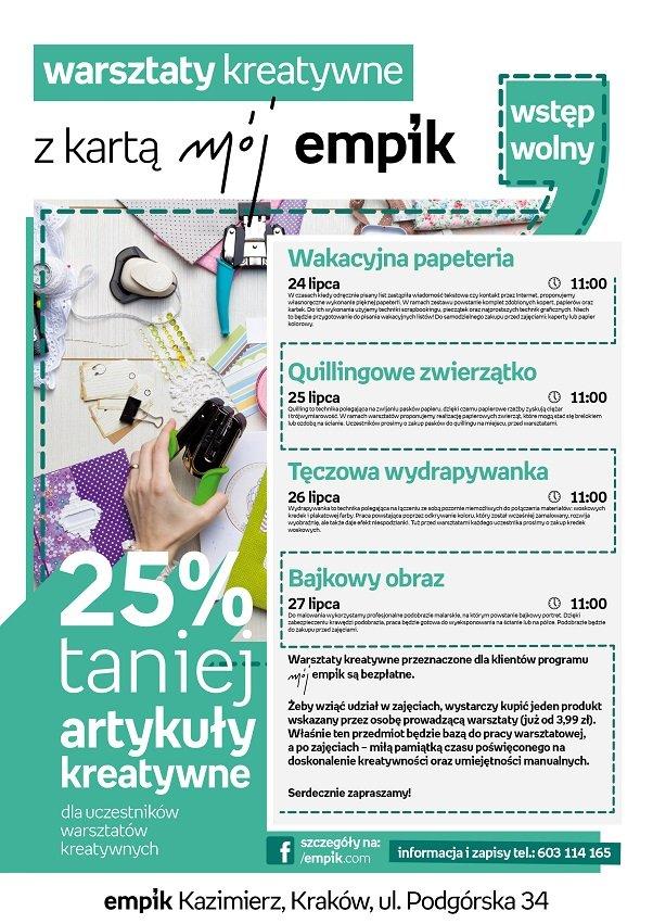 Nawigacja wiadomościWiadomość 19 z 43 Poprzednia Następna change-formatchange-format Temat: wakacyjne warsztaty w krakowskim Empiku