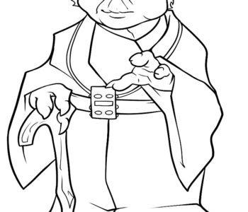 Kolorowanka Star Wars Mistrz Yoda, malowanka do druku
