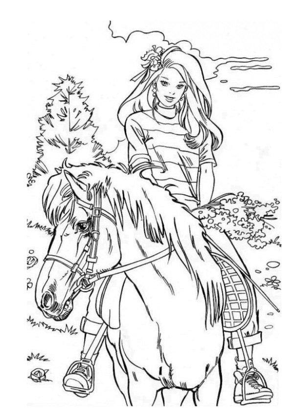 kolorowanka Barbie na rowerze do druku