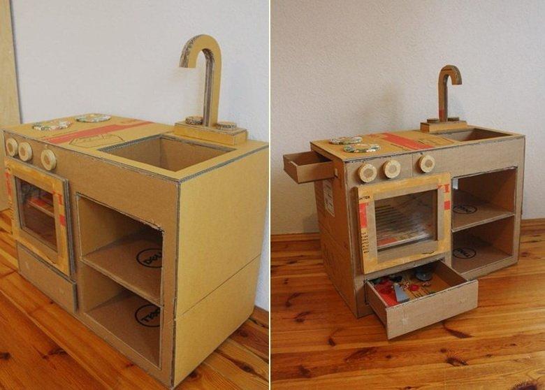 Kuchnia z kartonu dla dzieci