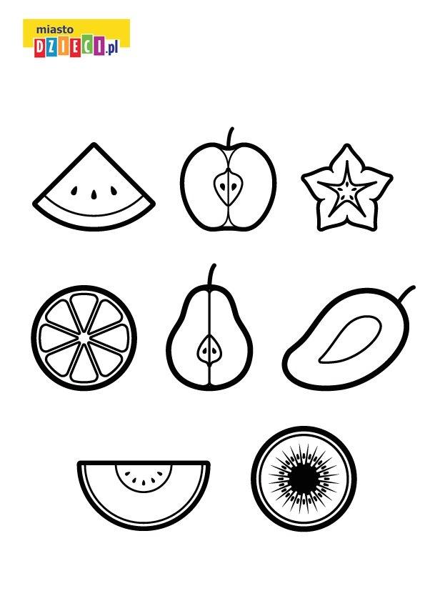 Owoce kolorowanka dla dzieci do druku