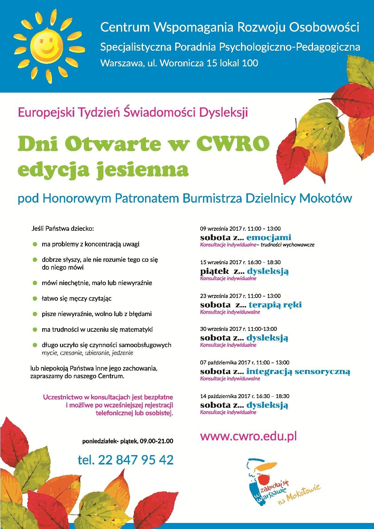 Jesienna edycja dni otwartych Centrum Wspomagania Rozwoju Osobowości