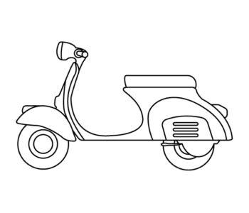 Kolorowanka motor skuter malowanki dla chłopców do druku
