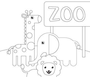 ZOO kolorowanka dla dzieci ze zwierzętami