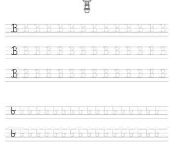 Nauka pisania literki B – szablon do druku