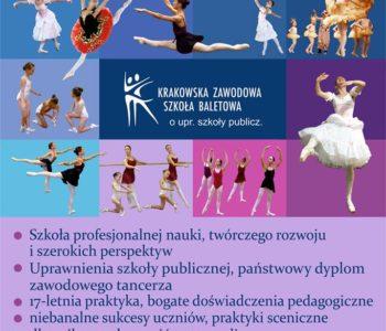 Krakowska Zawodowa Szkoła BaletowaorazMała Szkoła Baletowa– nabór na rok szkolny 2017/2018