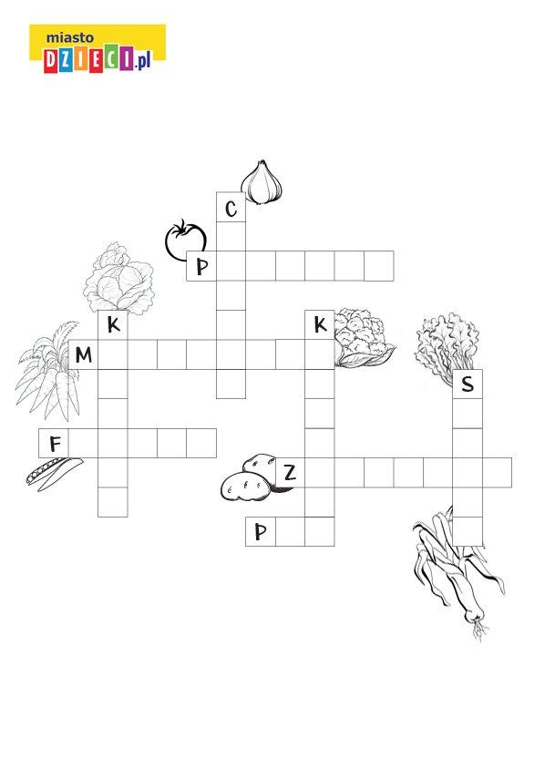 Krzyżówka z warzywami dla dzieci do druku