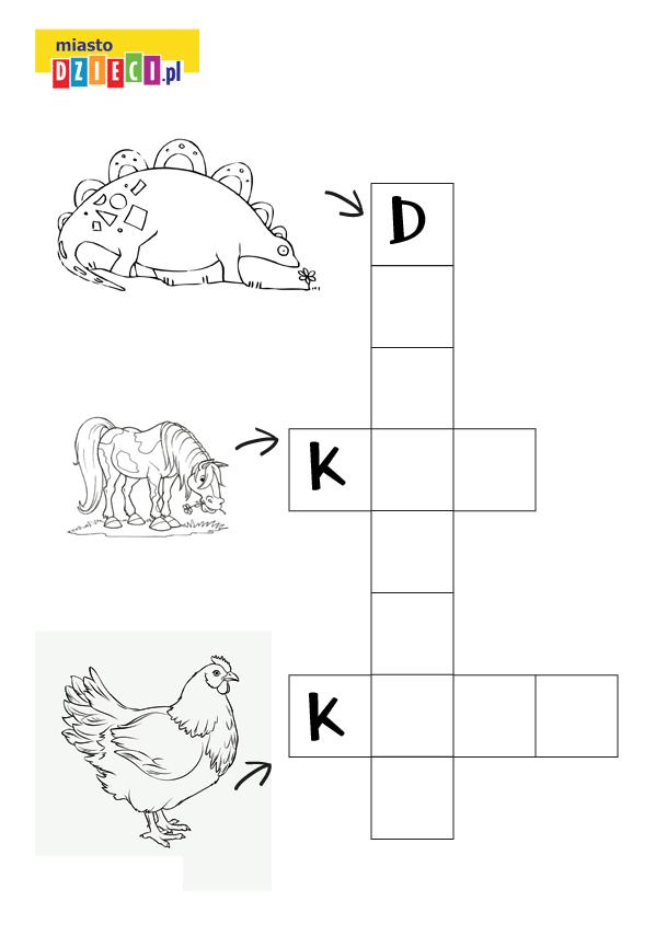 krzyżówka dla dzieci z dinozaurem