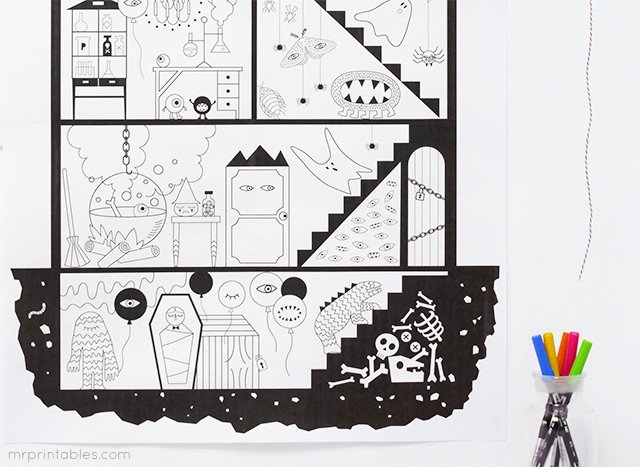 Nawiedzony dom – kolorowanka gigant do wydrukowania