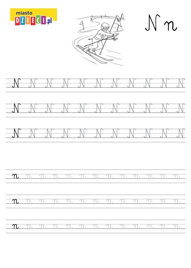 Szablon do nauki pisania literki N wraz z kolorowanką do wydruku