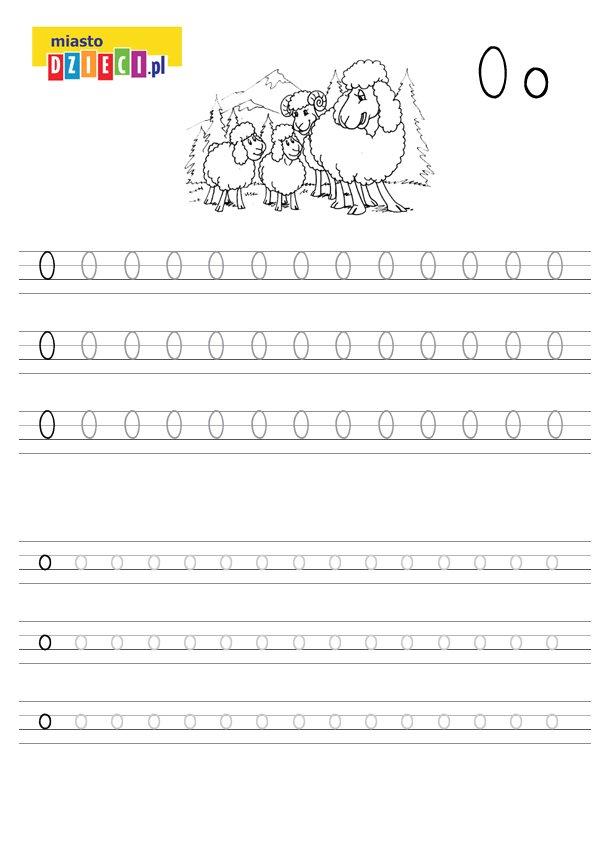 Szablon do nauki pisania literki O wraz z kolorowanką do wydruku