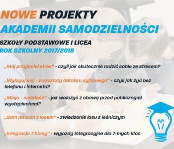 Nowe Projekty Akademii Samodzielności dla uczniów szkół podstawowych oraz liceów