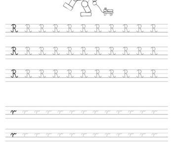 Szablon do nauki pisania literki R wraz z kolorowanką do wydruku